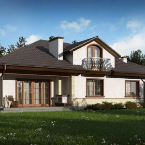 Фото 10 - Z10 GL2 STU bk - Версия проекта Z10 с гаражом с левой стороны, мансардой и балконом.