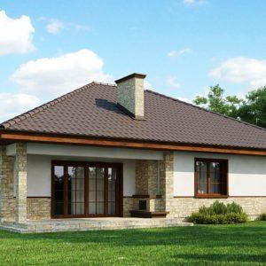 Фото 5 - Z10 - Одноэтажный дом с многоскатной кровлей, эркером и камином на террасе.
