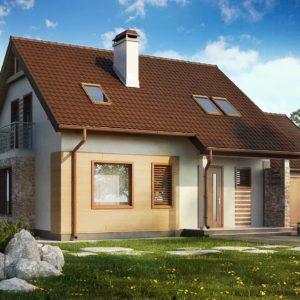 Фото 19 - Z102 GP - Версия проекта дома Z102 с гаражом, пристроенным справа.