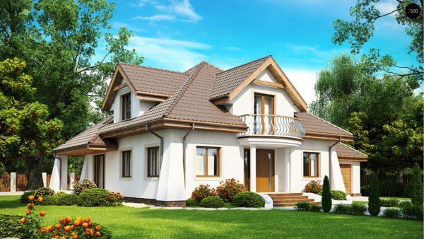 Фото 1 - Z109 - Удобный дом в классическом стиле с красивыми мансардными окнами и балконом.