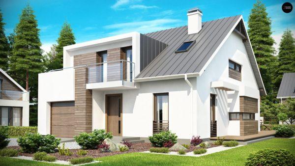 Фото 1 - Z116 - Стильный комфортный дом современного дизайна со встроенным гаражом.