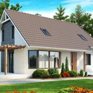 Фото 30 - Z117 - Проект дома с гостиной со стороны входа, боковой террасой  и дополнительной спальней на первом этаже.