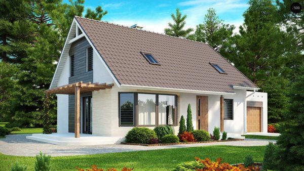 Фото 1 - Z117 - Проект дома с гостиной со стороны входа, боковой террасой  и дополнительной спальней на первом этаже.