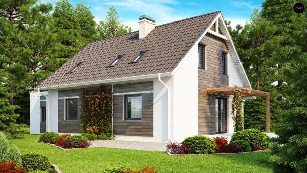 Фото 2 - Z117 - Проект дома с гостиной со стороны входа, боковой террасой  и дополнительной спальней на первом этаже.