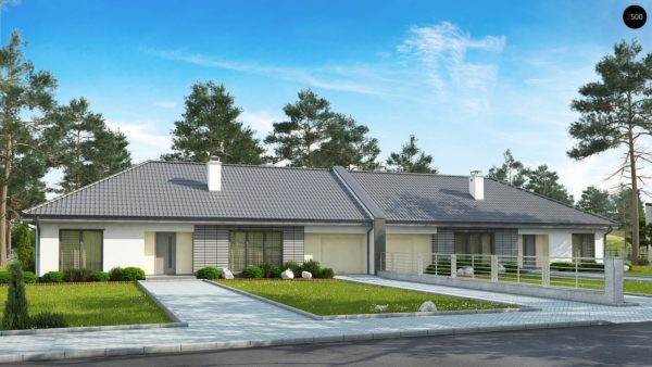 Фото 1 - Z123 ZBL - Проект дома для симметричной застройки на основе проекта Z123.