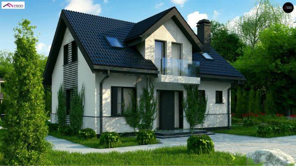 Фото 1 - Z13 - Простой в строительстве дом с балконом над входом.