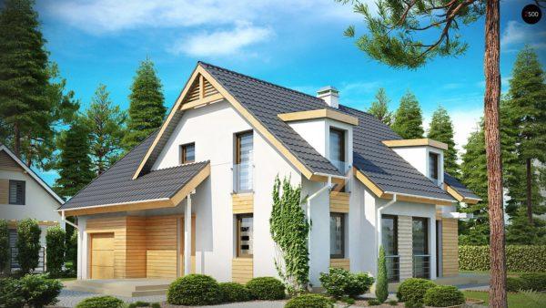 Фото 1 - Z135 - Проект комфортного дома с мансардными окнами, с фронтальным гаражом на одну машину.