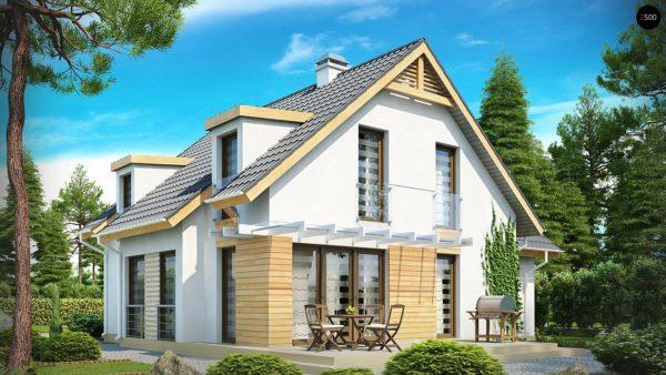 Фото 2 - Z135 - Проект комфортного дома с мансардными окнами, с фронтальным гаражом на одну машину.