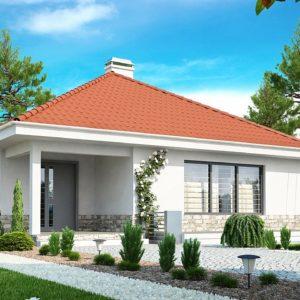 Фото 2 - Z141 - Проект компактного и функционального одноэтажного дома с фронтальным расположением дневной зоны.