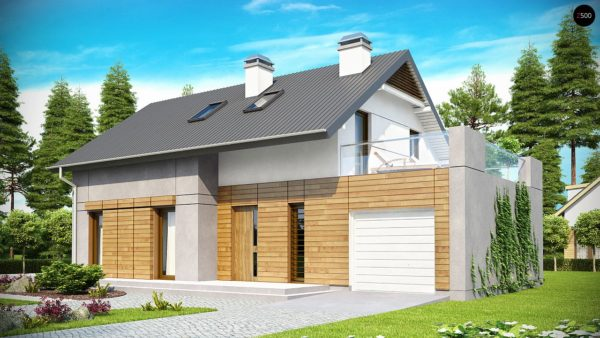 Фото 1 - Z149 - Удобный функциональный дом с террасой над гаражом, с современными элементами архитектуры.