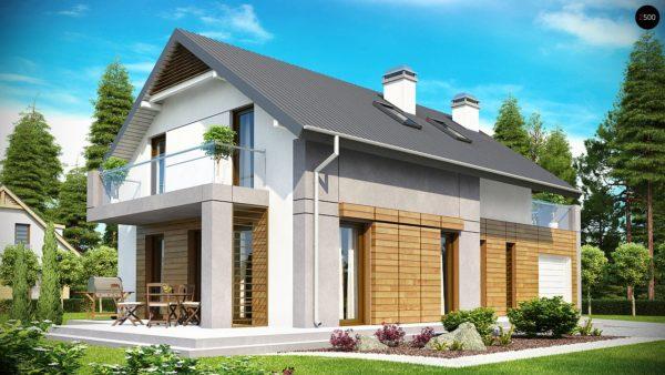 Фото 2 - Z149 - Удобный функциональный дом с террасой над гаражом, с современными элементами архитектуры.
