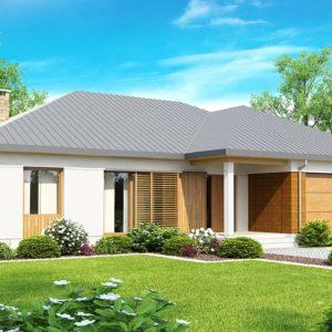 Фото 6 - Z152 - Проект практичного одноэтажного дома с фронтальным выступающим гаражом и крытой террасой.