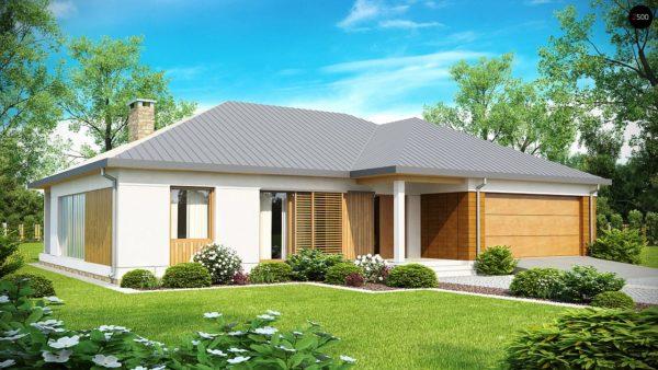Фото 1 - Z152 - Проект практичного одноэтажного дома с фронтальным выступающим гаражом и крытой террасой.