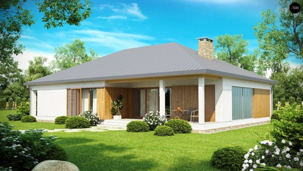 Фото 2 - Z152 - Проект практичного одноэтажного дома с фронтальным выступающим гаражом и крытой террасой.