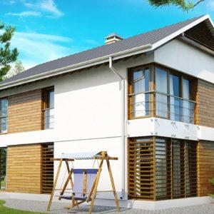 Фото 2 - Z155 - Компактный двухэтажный дом с большими окнами, подходящий для узкого участка.