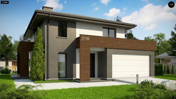 Фото 1 - Z156 A minus - Уменьшенная версия проекта z156 с гаражем и стильным фасадом.