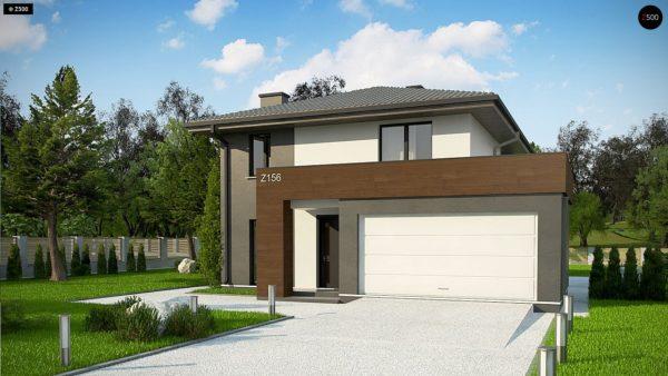 Фото 2 - Z156 A minus - Уменьшенная версия проекта z156 с гаражем и стильным фасадом.
