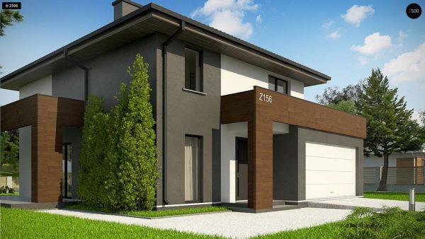 Фото 6 - Z156 A minus - Уменьшенная версия проекта z156 с гаражем и стильным фасадом.