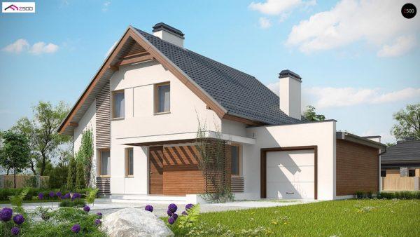 Фото 1 - Z166 GP - Проект мансардного дома в классическом стиле с гаражом на одно авто.