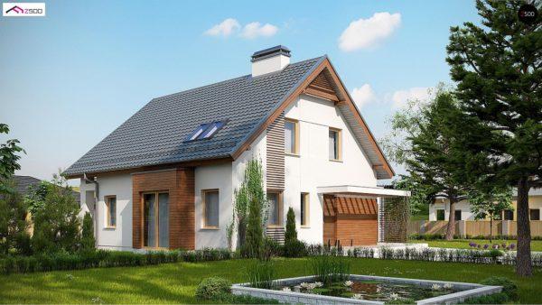 Фото 2 - Z166 GP - Проект мансардного дома в классическом стиле с гаражом на одно авто.