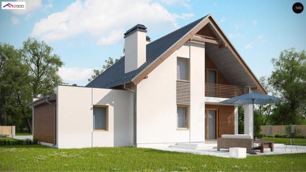 Фото 4 - Z166 GP - Проект мансардного дома в классическом стиле с гаражом на одно авто.