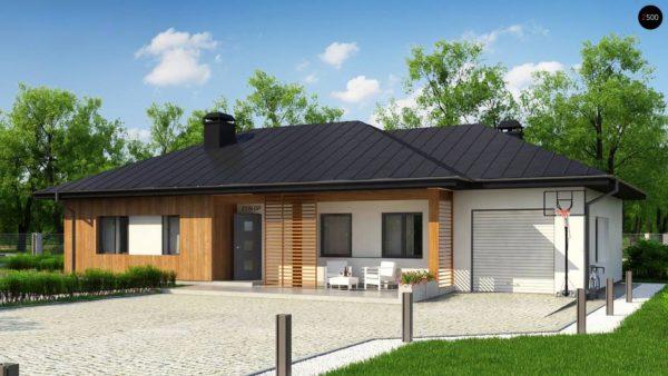 Фото 3 - Z176 GP - Вариант одноэтажного дома Z176 с гаражом справа на одну машину.