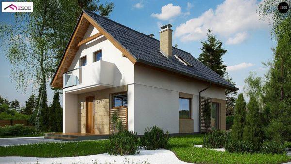 Фото 2 - Z177 + - Проект мансардного дома с 4 спальнями и кабинетом.