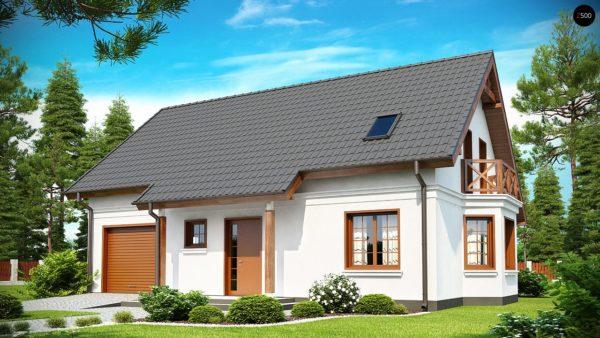 Фото 1 - Z178 - Элегантный дом простой формы со встроенным гаражом, эркером и балконом над ним.