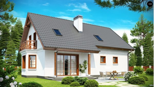 Фото 2 - Z178 - Элегантный дом простой формы со встроенным гаражом, эркером и балконом над ним.