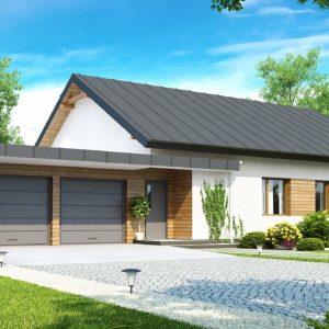 Фото 19 - Z182 - Практичный одноэтажный дом с двускатной крышей, с большим боковым гаражом.