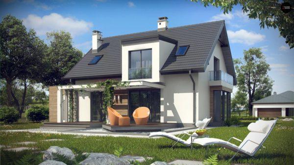 Фото 2 - Z189 - Стильный дом с оригинальными мансардными окнами, с гаражом и кабинетом на первом этаже.
