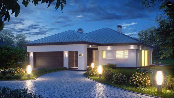 Фото 1 - Z200 - Удобный одноэтажный дом с гаражом для двух автомобилей, с большой площадью остекления в дневной зоне.