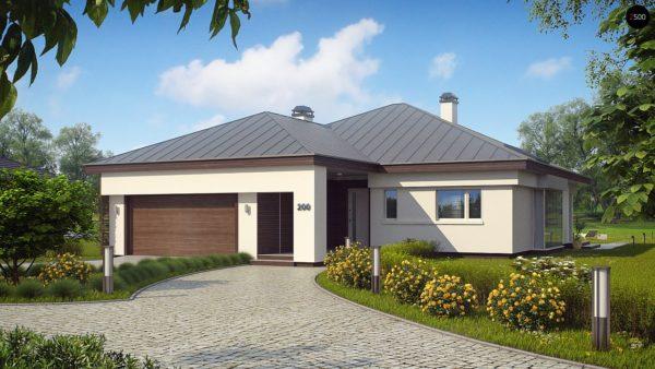 Фото 3 - Z200 - Удобный одноэтажный дом с гаражом для двух автомобилей, с большой площадью остекления в дневной зоне.