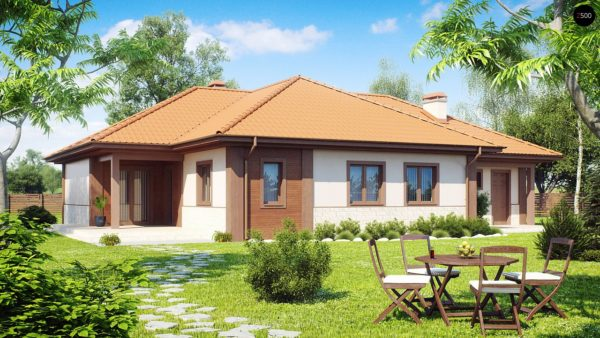 Фото 1 - Z22 - Проект комфортного одноэтажного дома с гаражом, с многоскатной крышей.