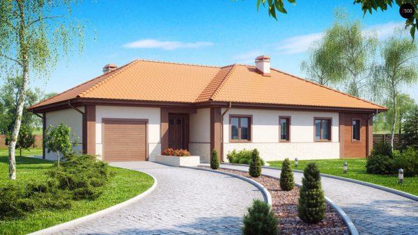 Фото 2 - Z22 - Проект комфортного одноэтажного дома с гаражом, с многоскатной крышей.