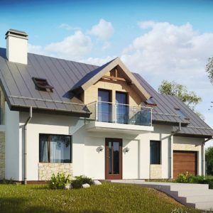 Фото 9 - Z263 + - Версия  мансардного дома Z263 с увеличением гаража.