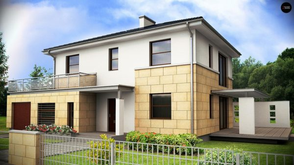 Фото 1 - Z29 - Современный двухэтажный дом простой формы с террасой на втором этаже.