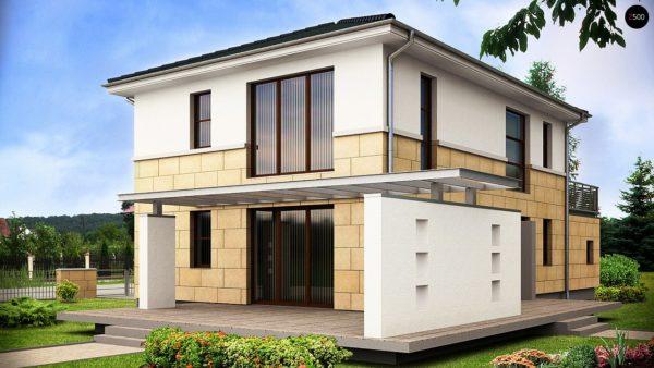 Фото 2 - Z29 - Современный двухэтажный дом простой формы с террасой на втором этаже.