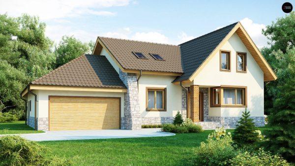 Фото 1 - Z31 - Проект традиционного дома с гаражом для двух машин и боковой террасой.