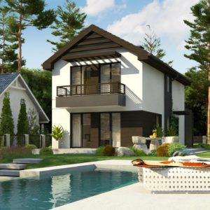 Фото 19 - Z374 - Проект двухэтажного дома в современном стиле, подойдет для строительства на узком участке.
