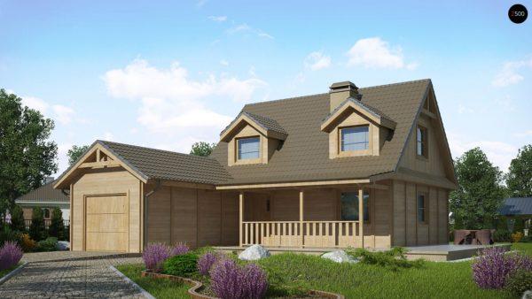Фото 1 - Z39 B GF lk - Вариант проекта Z39 c деревянными фасадами и гаражом расположенным с левой стороны.