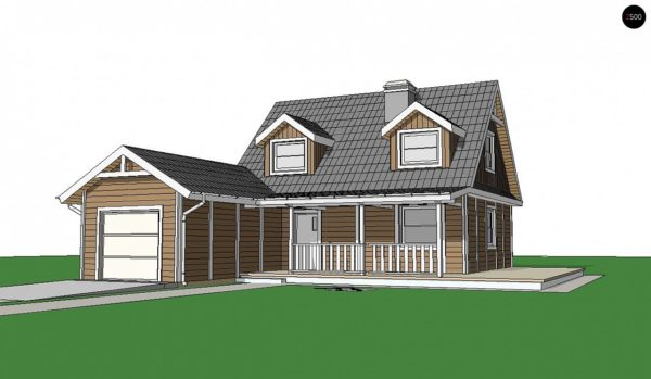 Фото 3 - Z39 B GF lk - Вариант проекта Z39 c деревянными фасадами и гаражом расположенным с левой стороны.