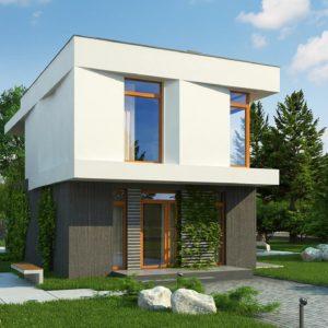 Фото 23 - Z397 - Проект двухэтажного дома в стиле кубизм, подходит для строительства на узком участке.