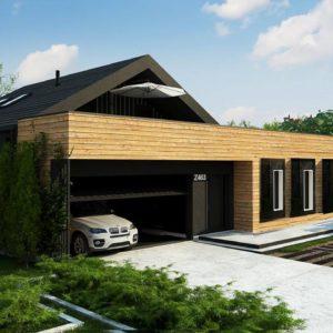 Фото 29 - Z463 - Современный мансардный проект дома с террасой и гаражом на две машины.
