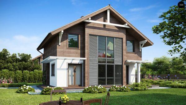Фото 1 - Z47 - Проект двухэтажного дома с большой площадью остекления.