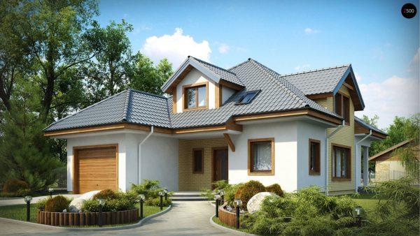Фото 1 - Z49 - Проект дома с мансардой, с большим техническим помещением и дополнительной спальней на первом этаже.