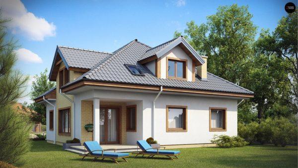 Фото 2 - Z49 - Проект дома с мансардой, с большим техническим помещением и дополнительной спальней на первом этаже.