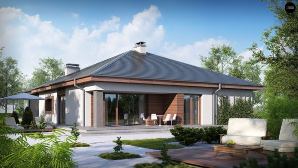 Фото 1 - Z52 - Проект одноэтажного дома с многоскатной кровлей, с фронтальным гаражом.