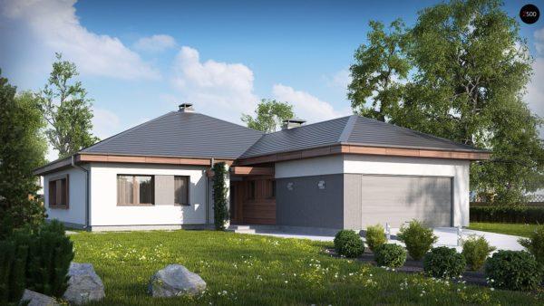 Фото 2 - Z52 - Проект одноэтажного дома с многоскатной кровлей, с фронтальным гаражом.