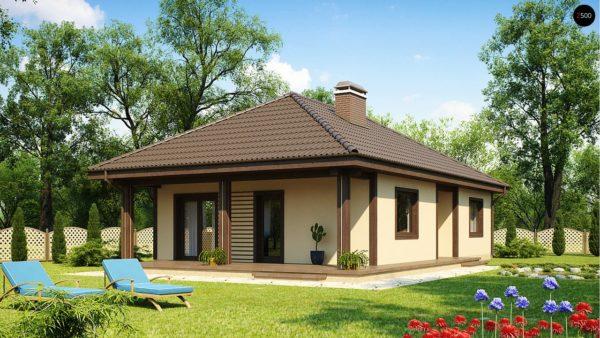 Фото 1 - Z55 - Проект компактного функционального дома с боковой террасой.